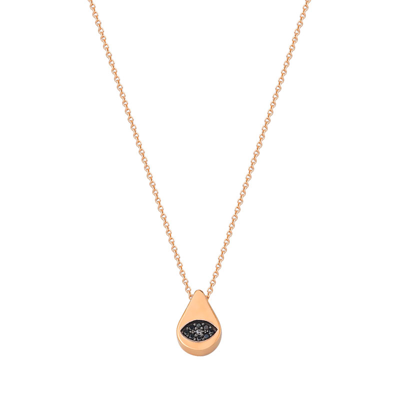 ROSE GOLD EVIL EYE NECKLACE IN SHAPE OF PEAR
