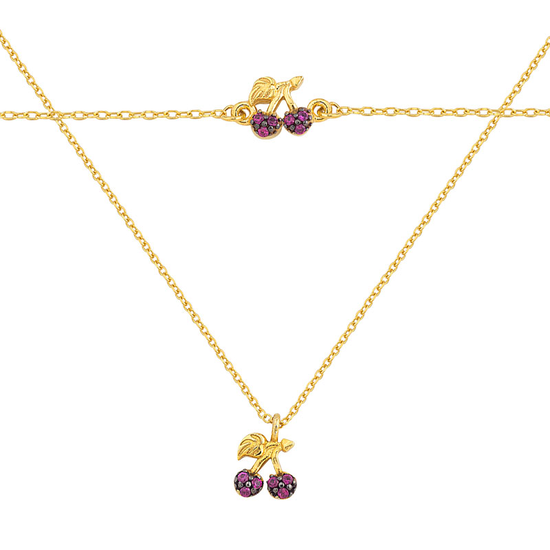 YELLOW GOLD CHERRY NECKLACE &BRACELET WITH RED ZIRCONS