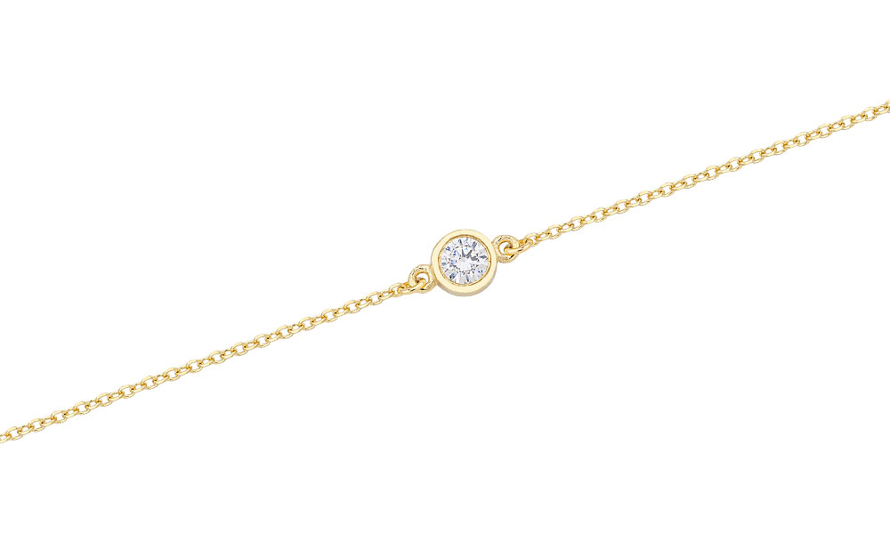 SOLITAIRE YELLOW GOLD BRACELET