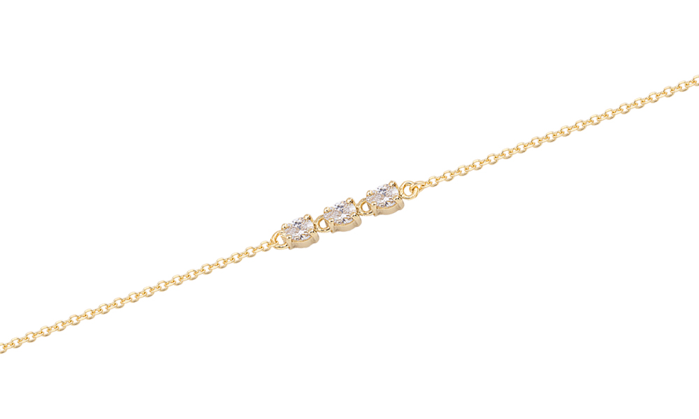 TRIPLE-YELLOW GOLD OVAL ZIRGON BRACELET