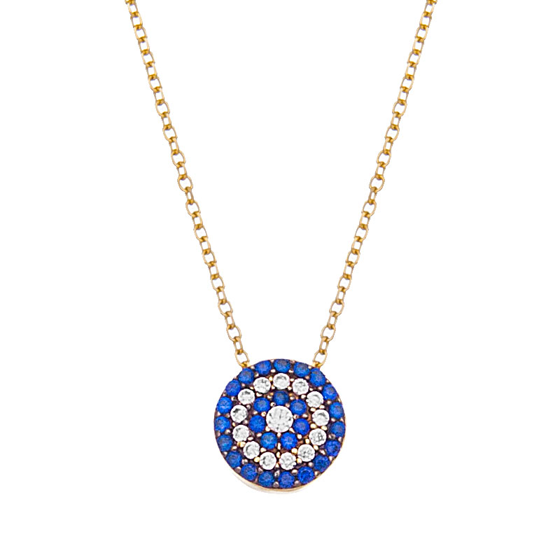 YELLOW GOLD ROUND Evil Eye NECKLACE