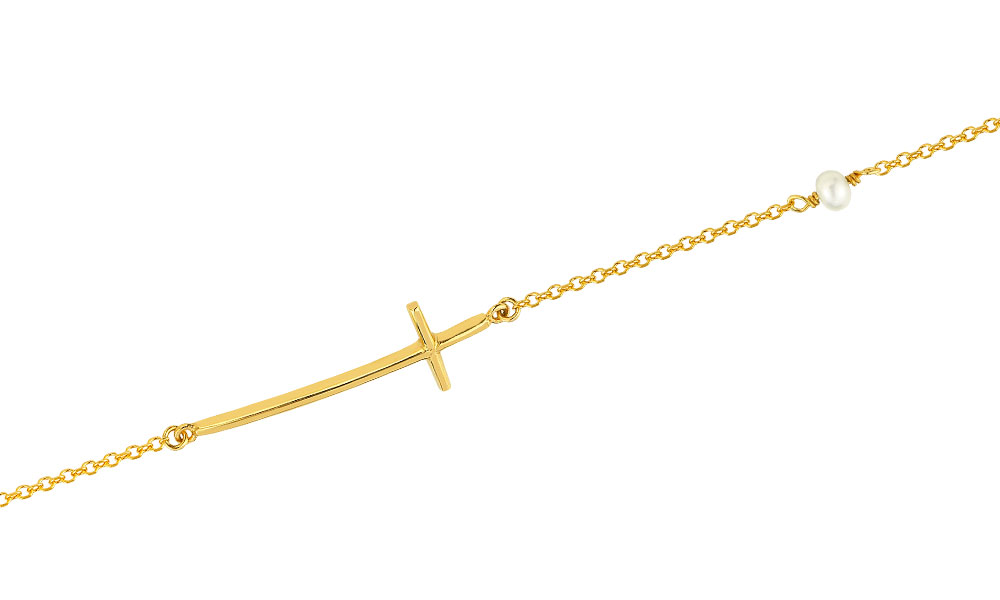 YELLOW GOLD CROSS BRACELET WITH PEARL