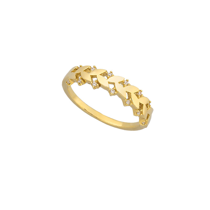 YELLOW GOLD LEAVES RING WITH WHITE ZIRCONS
