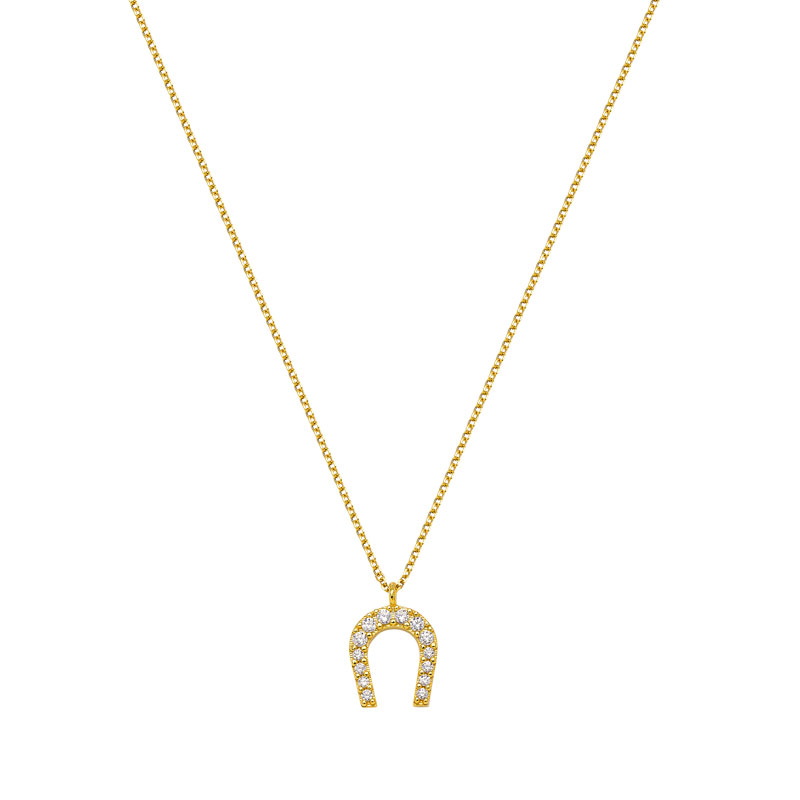 LUCKY CHARM HORSE SHOE YELLOW GOLD NECKLACE