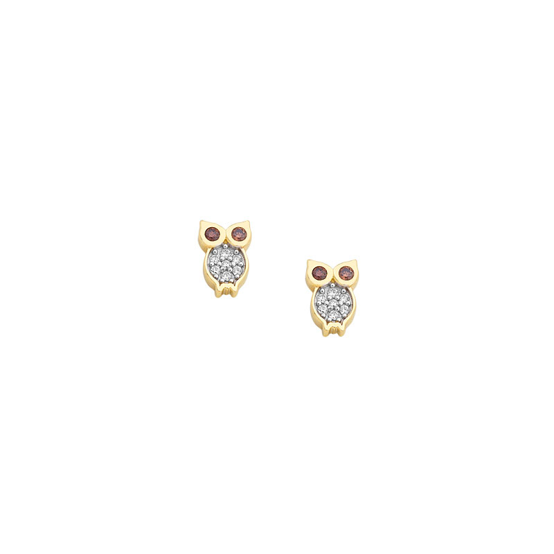 YELLOW GOLD OWL STUD EARRINGS