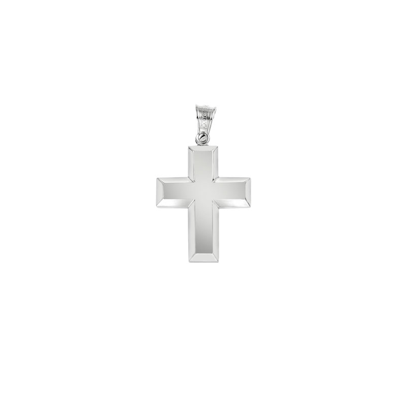 WHITE GOLD PLANE CROSS