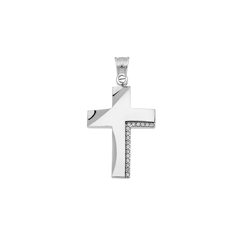 WHITE GOLD CROSS WITH WHITE ZIRCONS