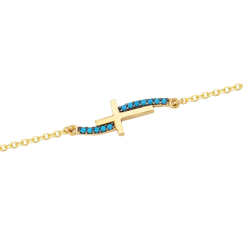 YELLOW GOLD CROSS BRACELET WITH TURQUOISE ZIRCONS
