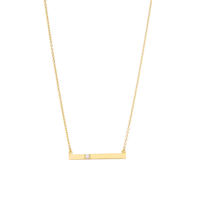 YELLOW GOLD ID NECKLACE WITH WHITE ZIRCON