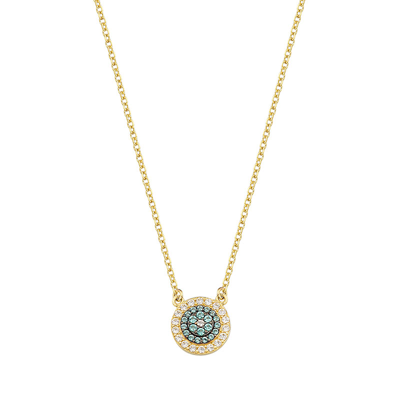 YELLOW GOLD EVIL EYE NECKLACE WITH PARAIBA AND WHITE ZIRCONS