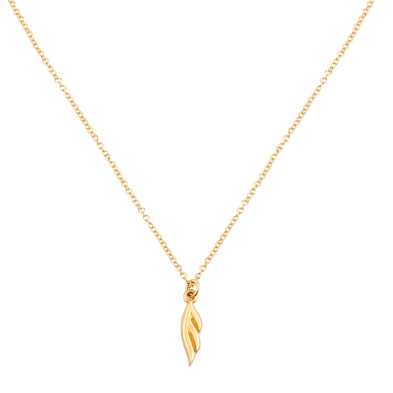 YELLOW GOLD PLANE FEATHER NECKLACE