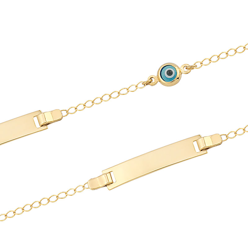 YELLOW GOLD ID BRACELET WITH EVIL EYE