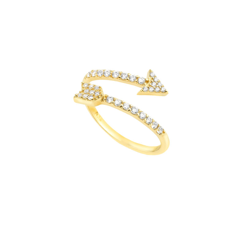 YELLOW GOLD ARROW RING WITH WHITE ZIRCONS