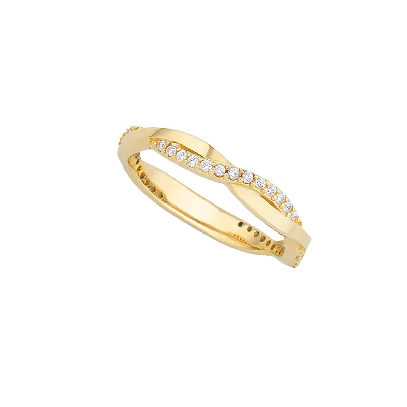 YELLOW GOLD INFINITY LINE RING WITH WHITE ZIRCONS