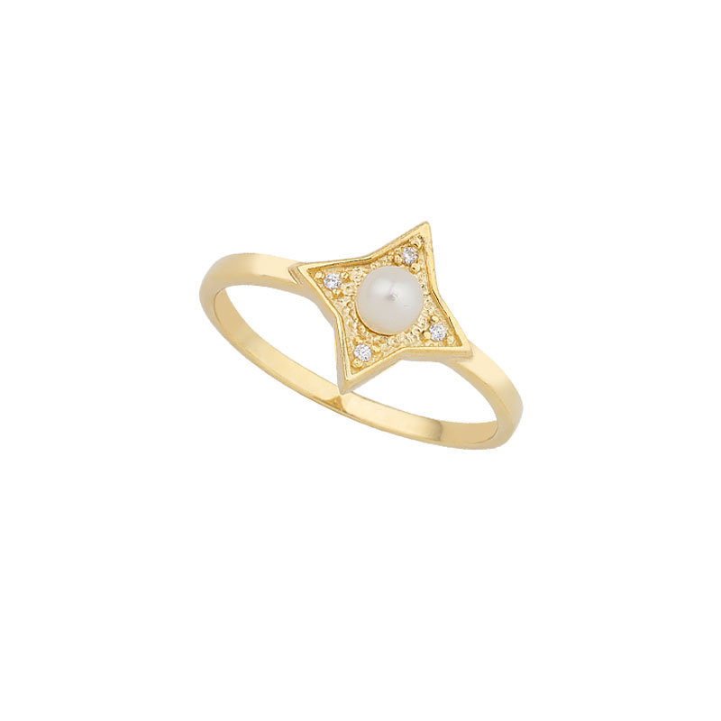 YELLOW GOLD STAR RING WITH PEARL AND WHITE ZIRCONS