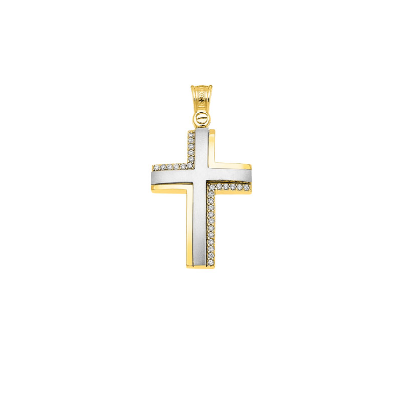 YELLOW WHITE GOLD CROSS WTH ZIRCONS