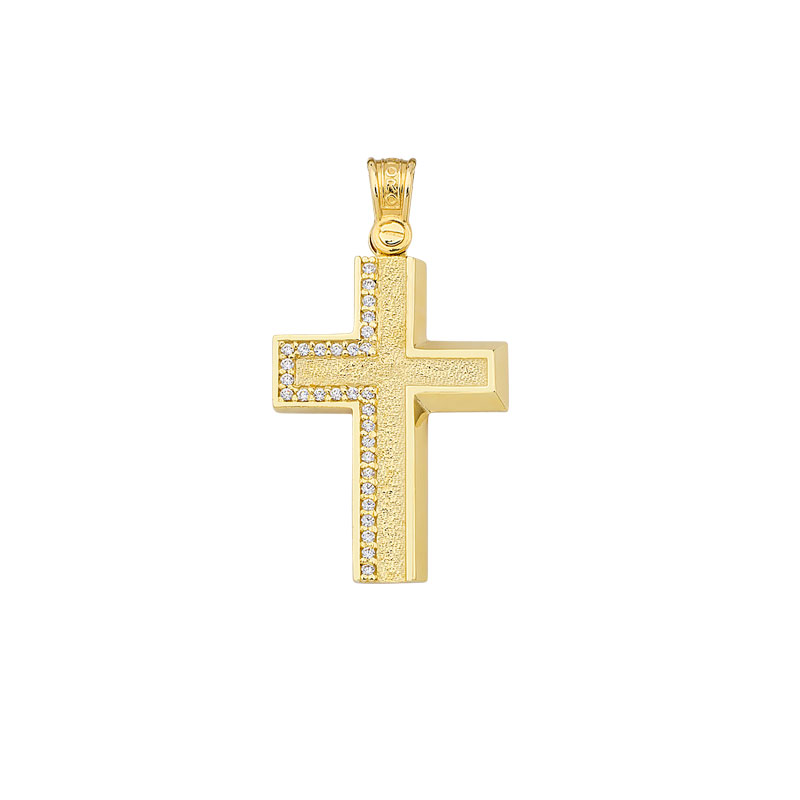 YELLOW GOLD CROSS WITH WHITE ZIRCONS