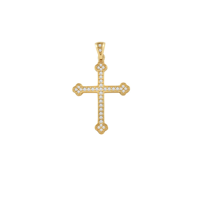 YELLOW GOLD CROSS WITH ZIRCONS