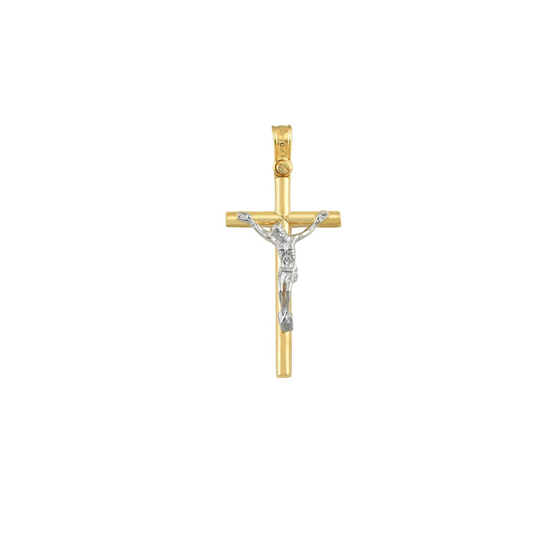 WHITE YELLOW GOLD JESUS CROSS