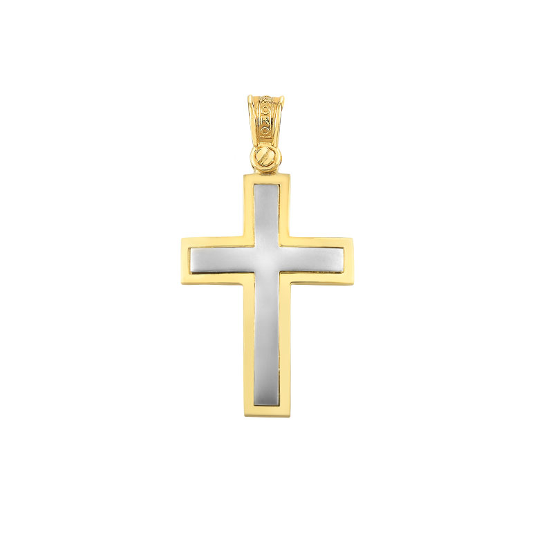 TWO TONES GOLD CROSS FOR BOYS