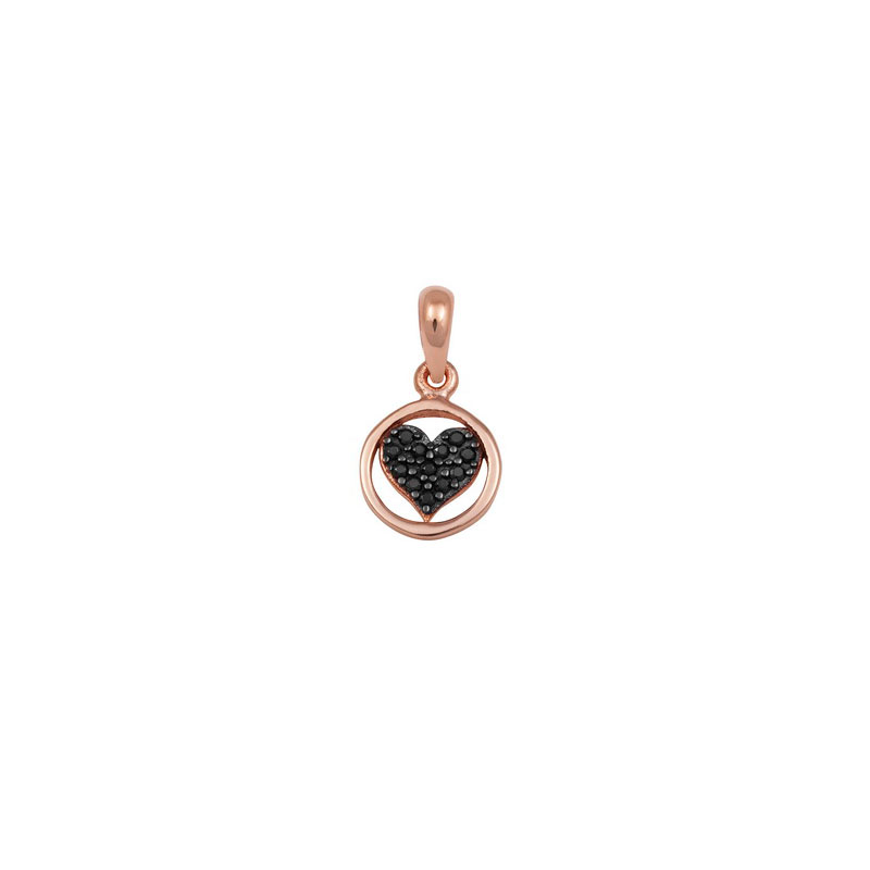ROSE GOLD HEART IN A CYCLE PENDANT WITH BLACK ZIRCONS