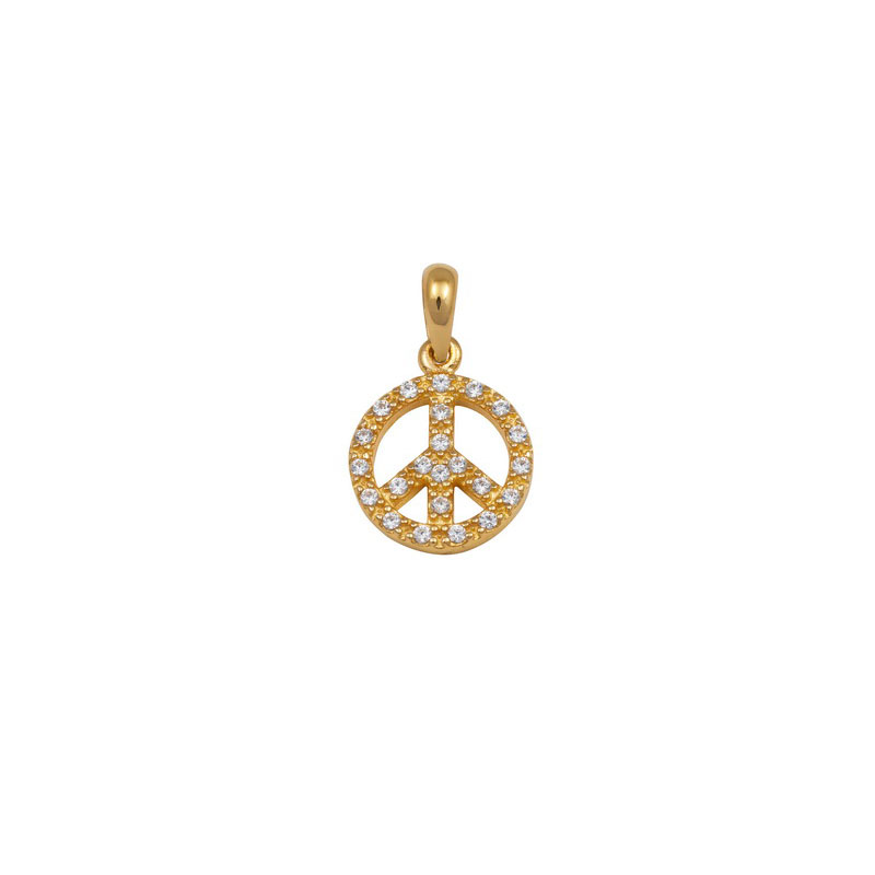 YELLOW GOLD PEACE PENDANT WITH WHITE ZIRCONS