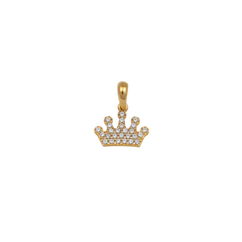 WELLOW GOLD CROWN PENDANT WITH WHITE ZIRCONS