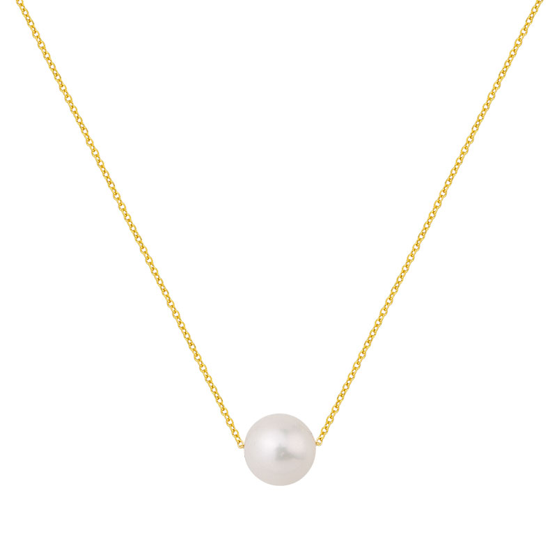 YELLOW GOLD PEARL NECKLACE 8MM