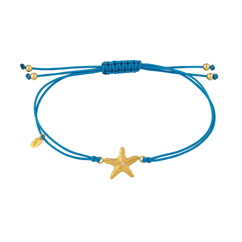 YELLOW GOLD STAR FISH WITH TURQUOISE CORD BRACELET