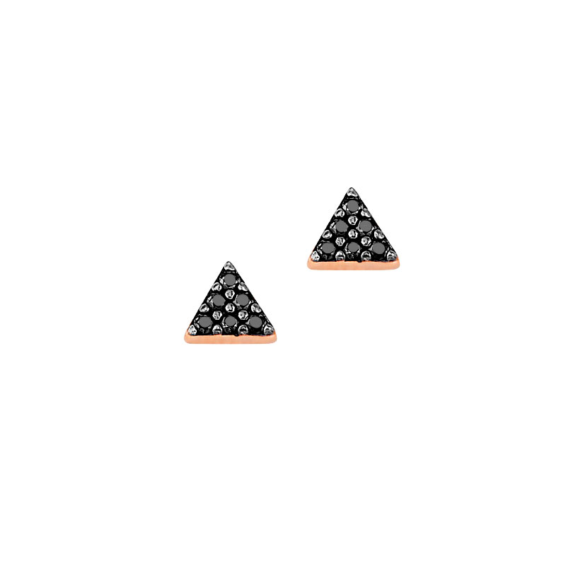 ROSE GOLD TRIANGLE STUD EARRING WITH BLACK ZIRCONS