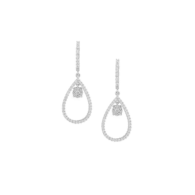 OVAL WHITE GOLD PAVE EARRINGS