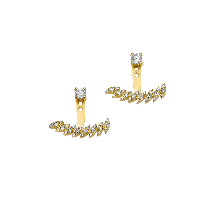 YELLOW GOLD EAR JACKET WITH WHITE ZIRCONS