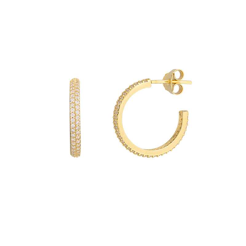 YELLOW GOLD HOOP WITH ZIRCONS