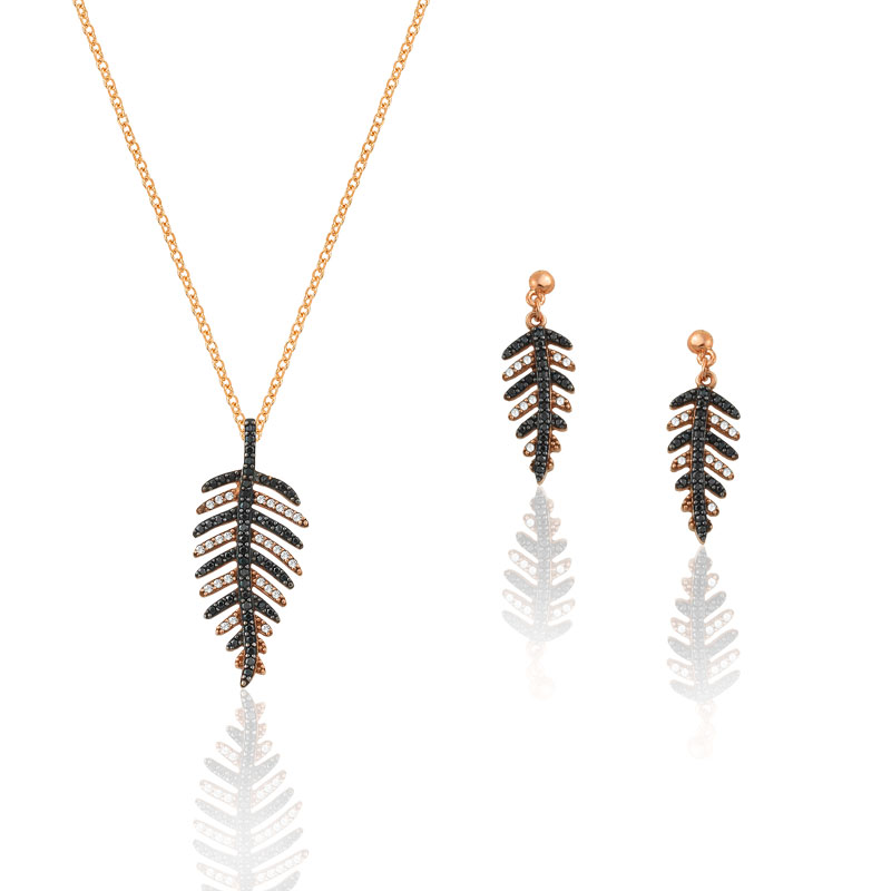 ROSE GOLD FEATHER SET WITH BLACK AND WHITE ZIRCONS