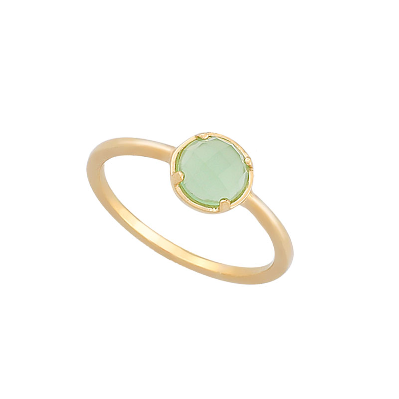 YELLOW GOLD RING WITH LIGHT GREEN ZIRCON