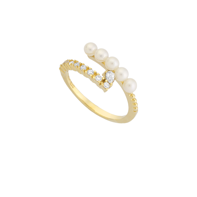 YELLOW GOLD K14 RING WITH WHITE ZIRCONS AND PEARLS