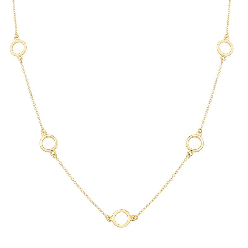 YELLOW GOLD K14 NECKLACE WITH 8 ROUND ITEMS 80CM