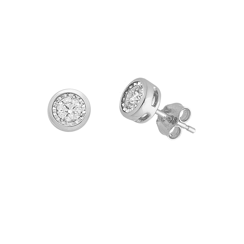 WHITE GOLD K18 EARRINGS  WITH DIAMONDS