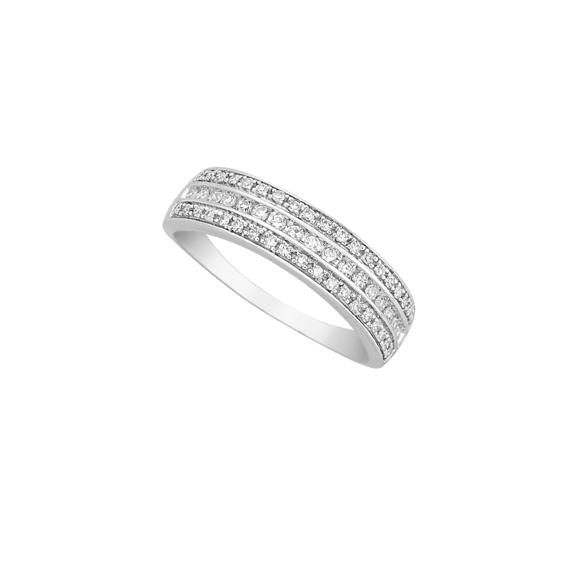 WHITE GOLD K18 BAND RING WITH DIAMONDS