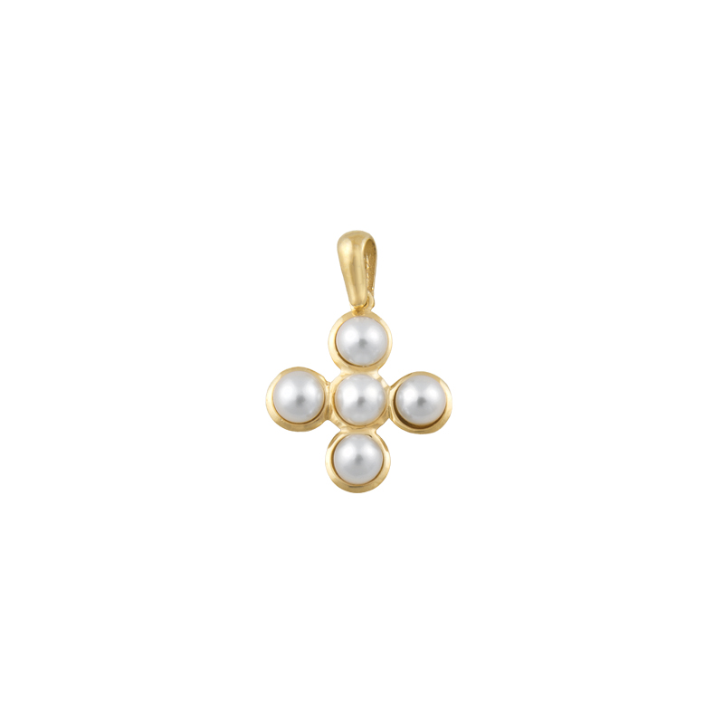 YELLOW GOLD K14 CROSS WITH PEARLS