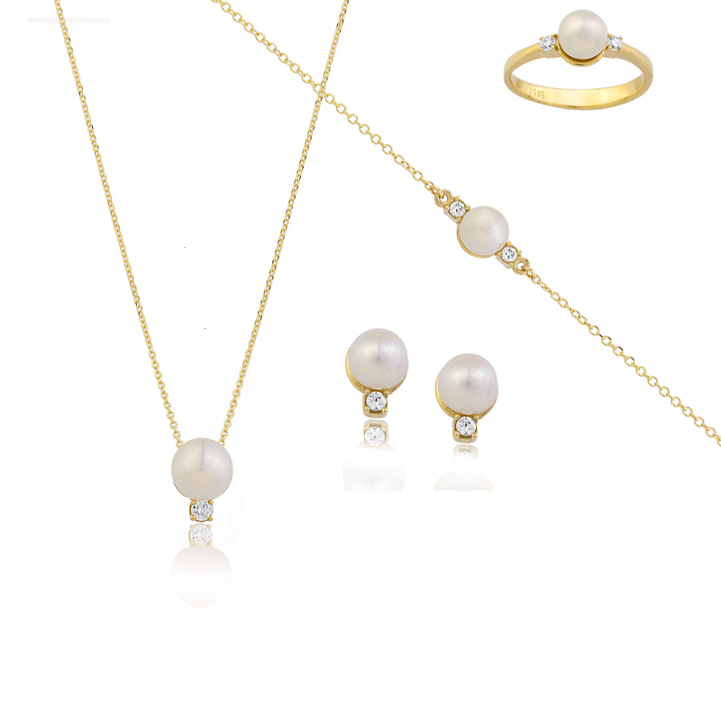 YELLOW GOLD K14  PEARL SET