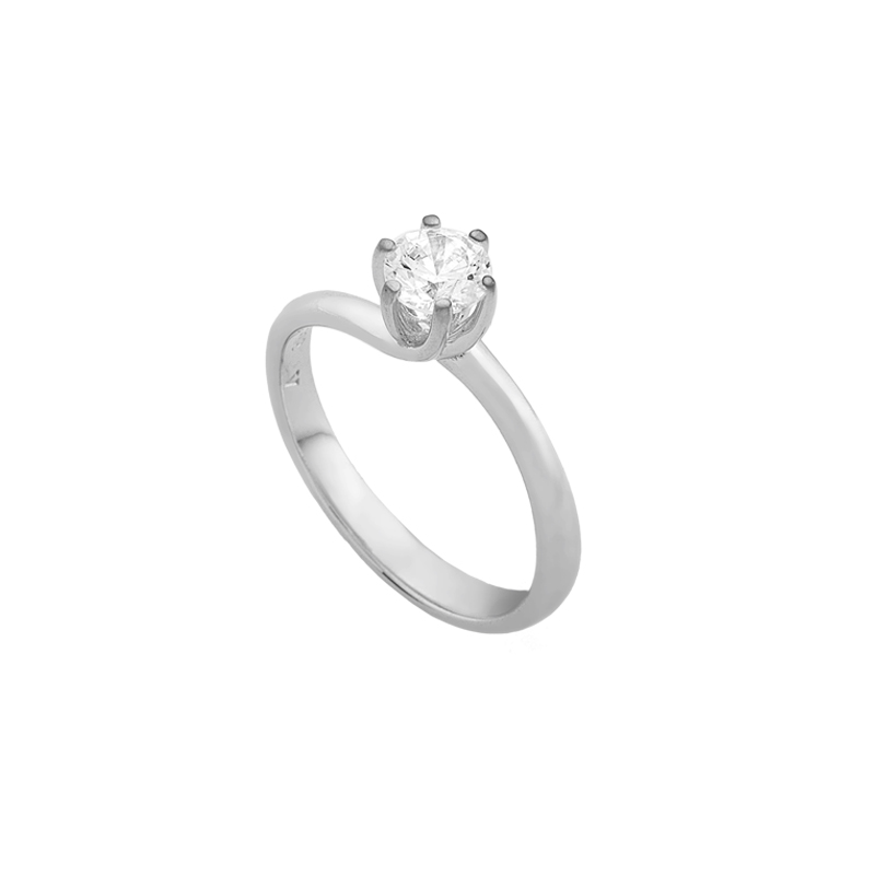 WHITE GOLD K18 SOLITAIRE RING WITH DIAMONT
