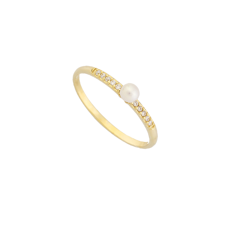 YELLOW GOLD K14 RING WITH WHITE ZIRCONS AND PEARL