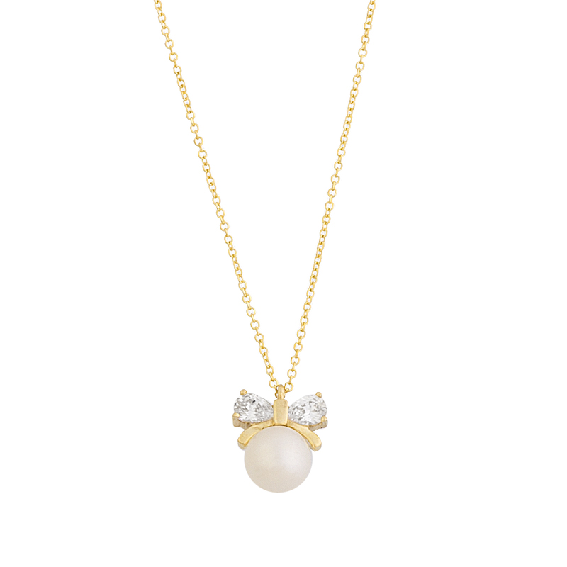 YELLOW GOLD  K14 BOW NECKLACE WITH WHITE ZIRCONS AND PEARL