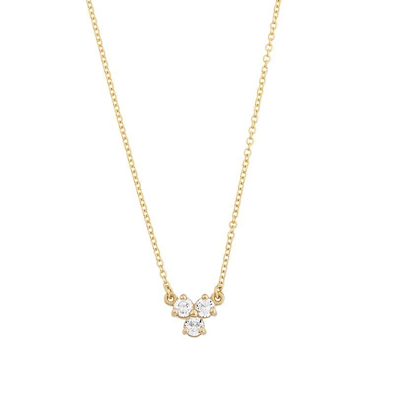 YELLOW GOLD  K14 NECKLACE WITH WHITE ZIRCONS