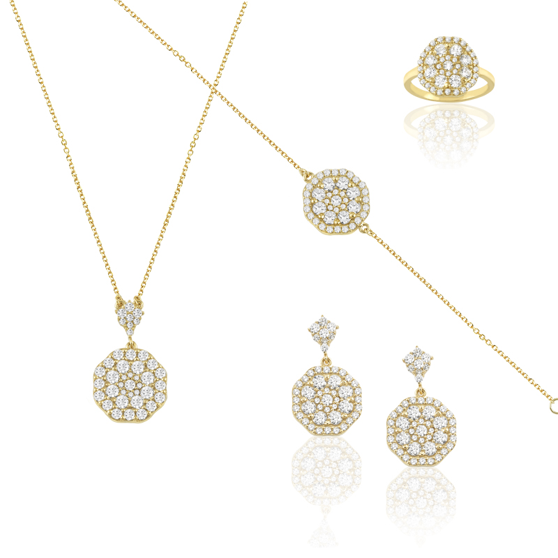 YELLOW GOLD  K14 SET WITH WHITE ZIRCONS