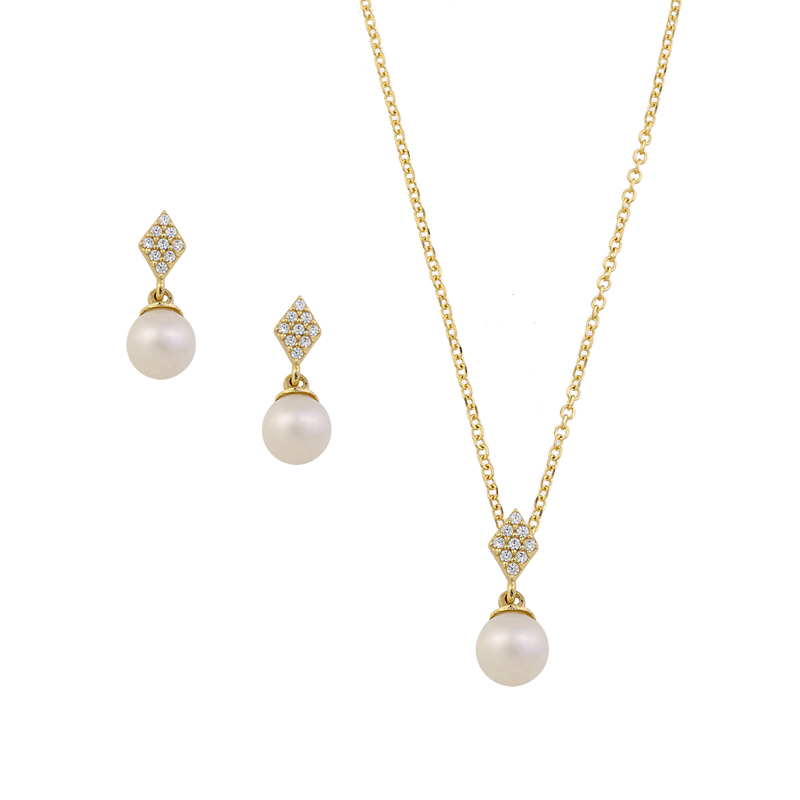 YELLOW GOLD  K14 PEARL SET  WITH WHITE ZIRCONS