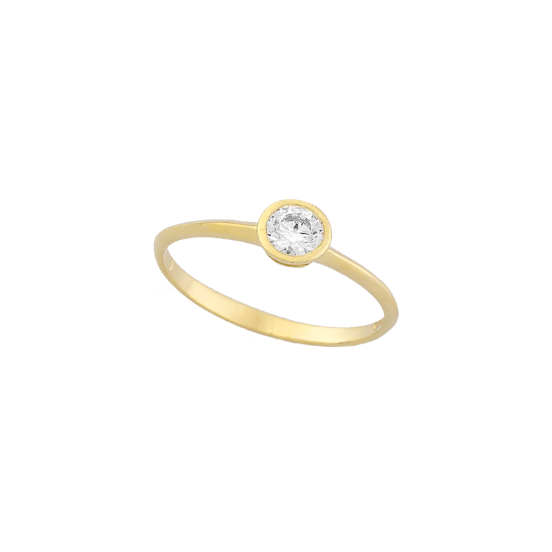 YELLOW GOLD  K14 RING WITH WHITE ZIRCON