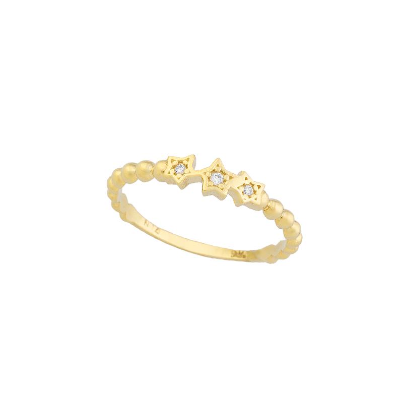 YELLOW GOLD  K14 STARS RING WITH WHITE ZIRCONS