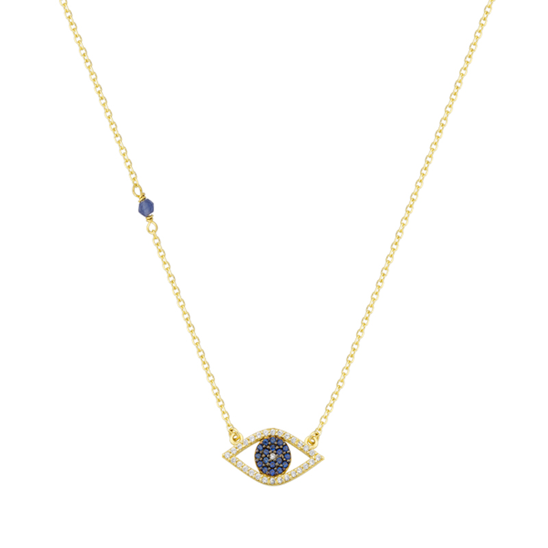 YELLOW GOLD K14 EVIL EYE NECKLACE WITH ZIRCON